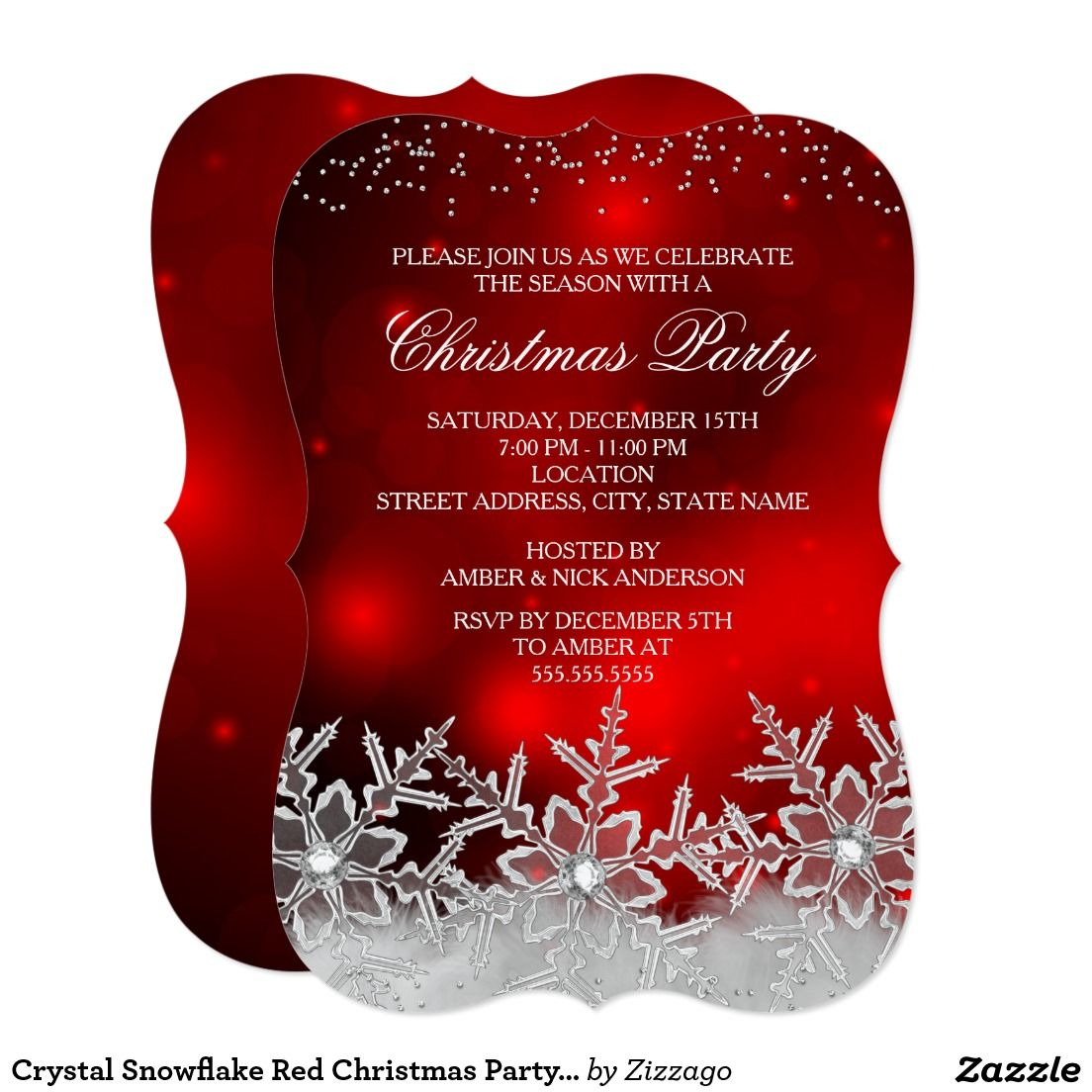 Crystal Snowflake Red Christmas Party Invite | Christmas Party ...