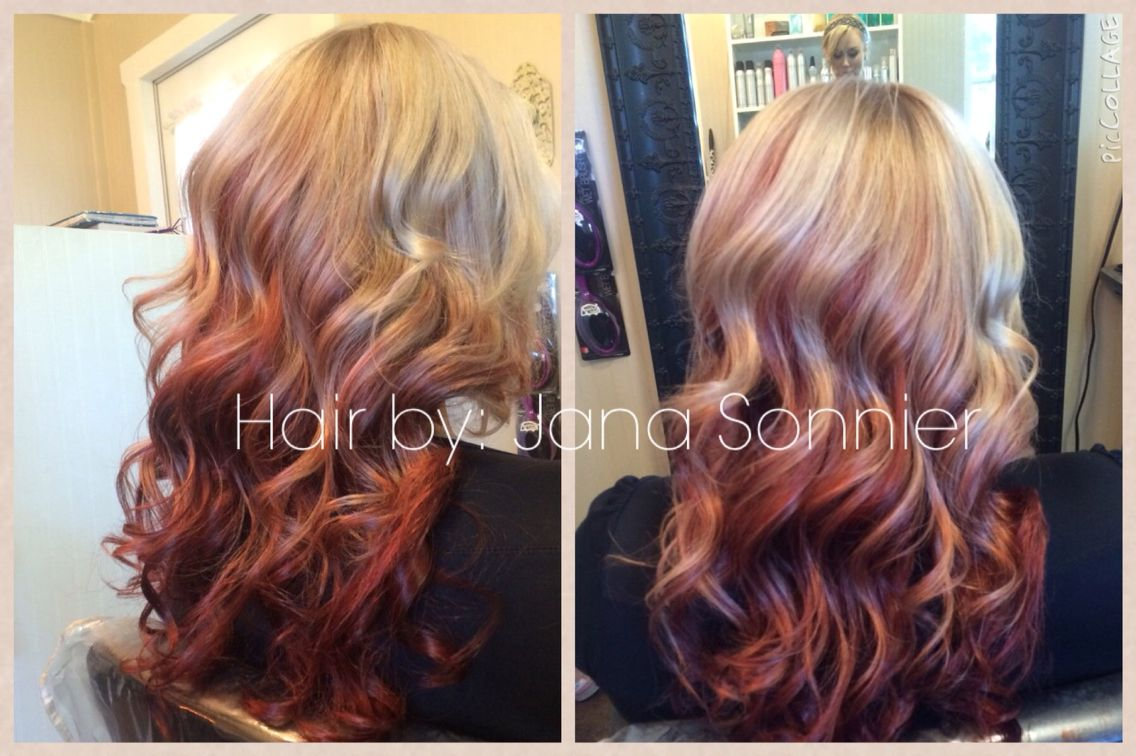 Reverse Ombre Blonde Rose Gold Red Jana Sonnier 14 Hair