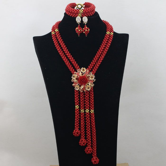 Big Full Nigerian Wedding Beads Statement Necklace for Women ...