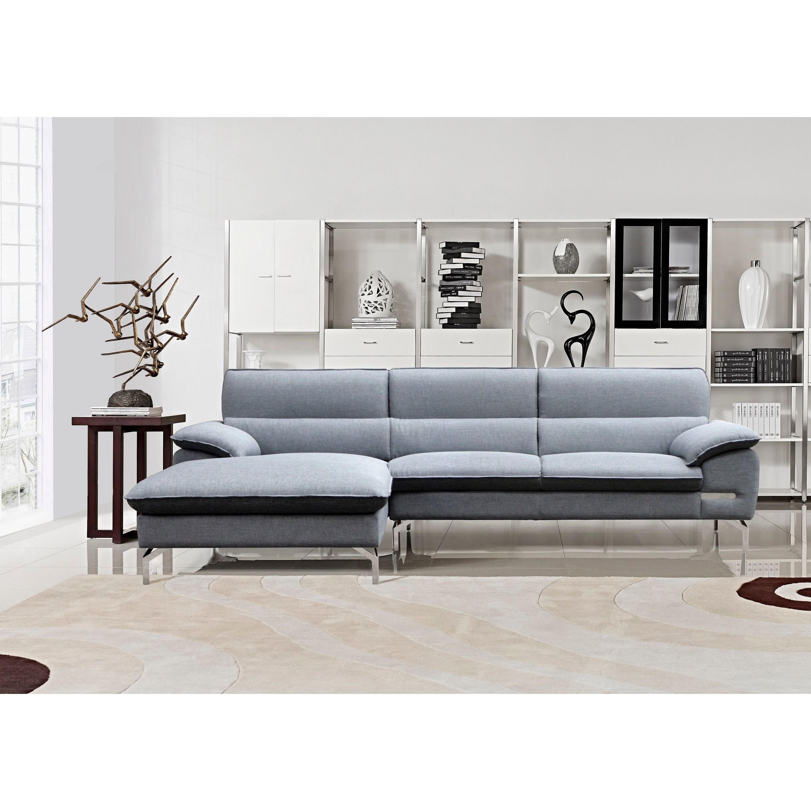 Cynthia Grey Fabric Contemporary Sectional Sofa Set by US Pride