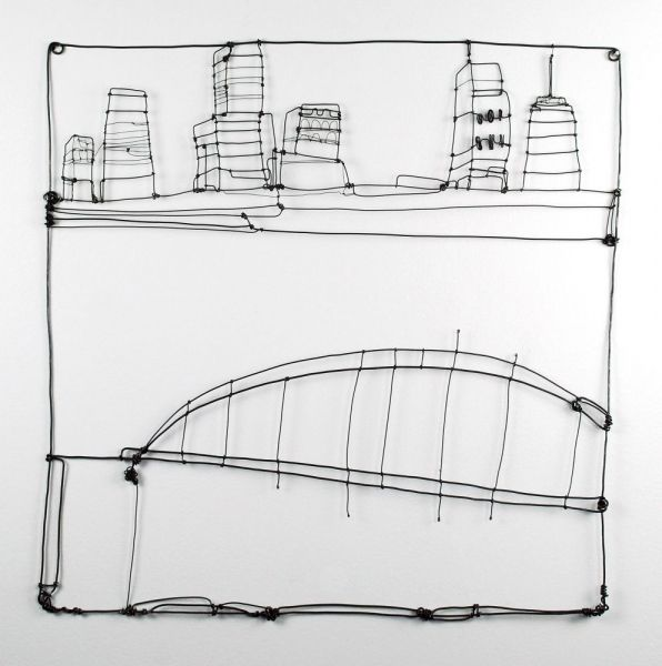 """BARBARA GILHOOLY  wire drawing Cityscape II   2008 - Annealed steel wire 17"""" x 17"""""""