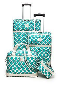 New Directions® Jet Set 4-Piece Luggage Set - Aqua Trellis   Jet ...