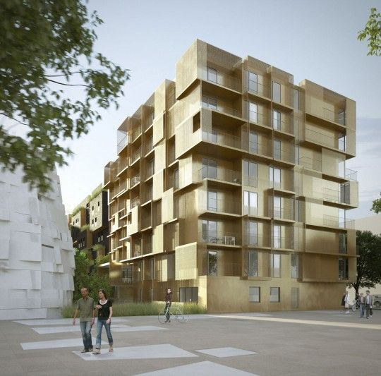 Golden Cube R Sidence Tudiante Bling Bling Boulogne Billancourt Architecture And Facades