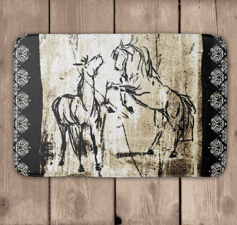 Rustic Rearing Horses Bath Mat - equestrian style home decor for the bathroom