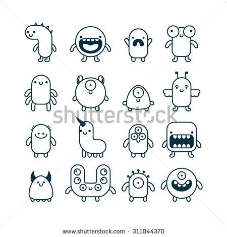 Set Of Cute Simple Cartoon Monsters Easy Cartoon Drawings Monster Drawing Cute Monsters Drawings