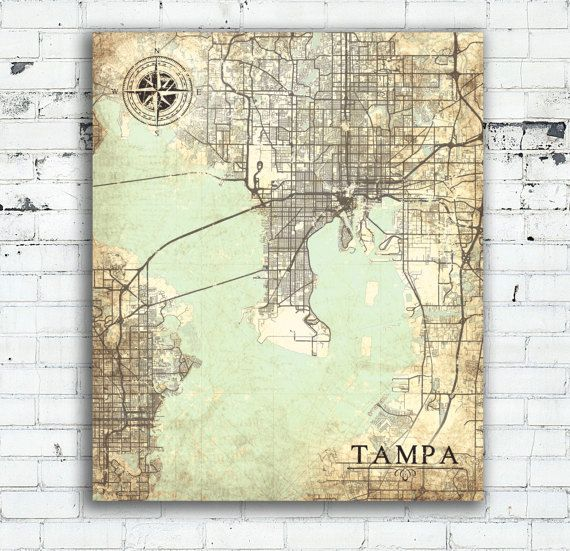 TAMPA FL Canvas Print Florida Tampa Fl Vintage map Tampa fl City