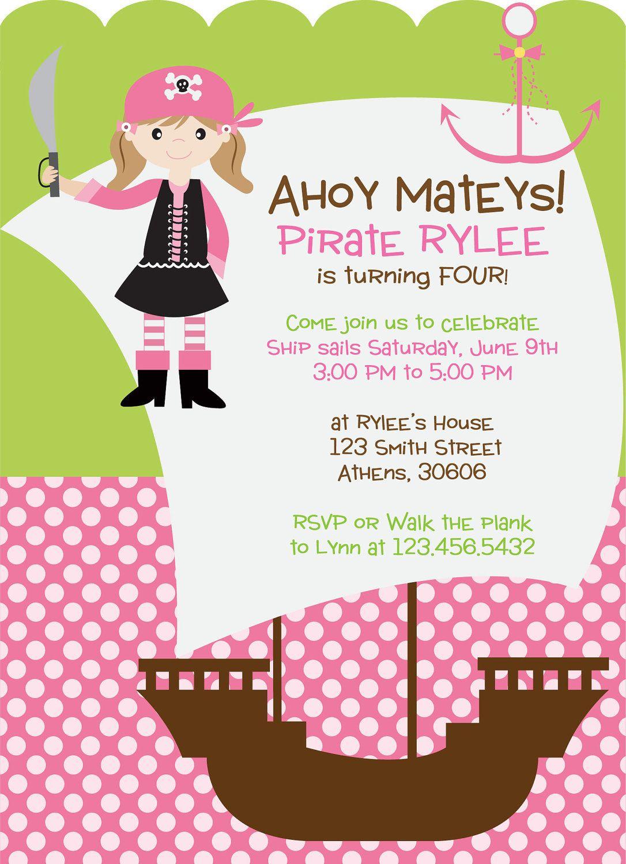 Pirate Birthday Invitation. Pirate Party Invitation. Girl Pirate ...