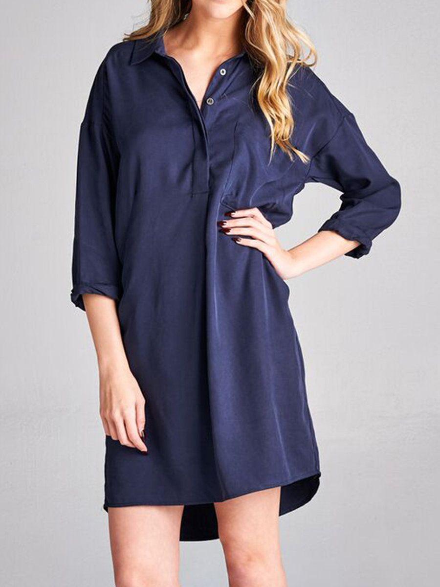 Navy blue tencel simple hline shirt dress designer nabisplace