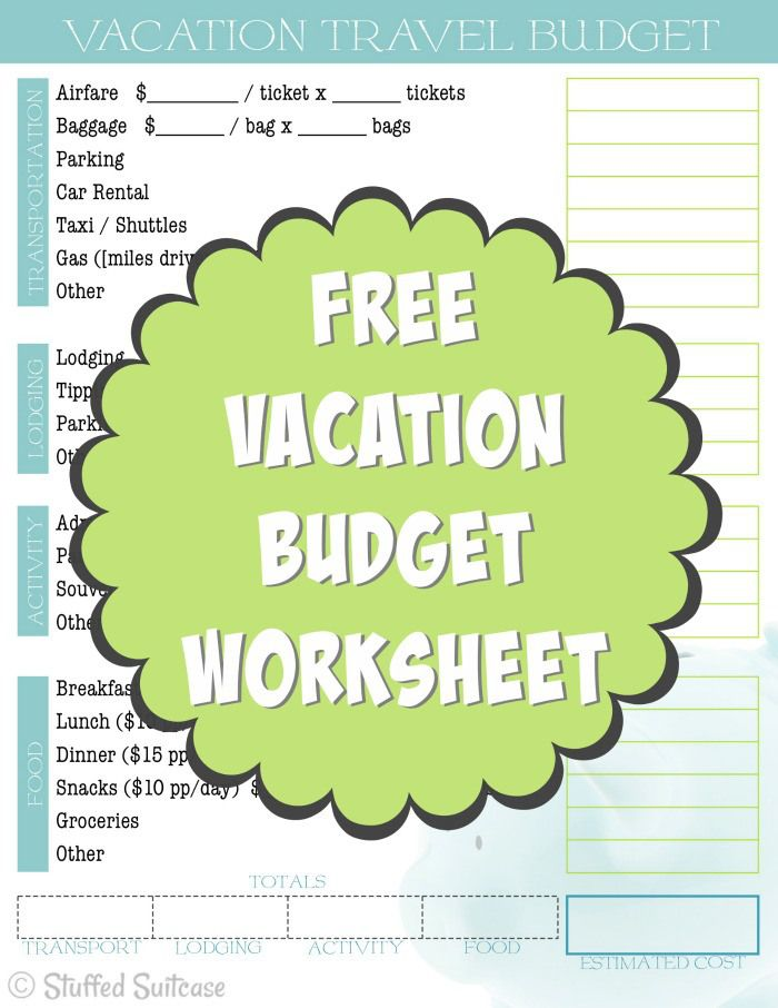 Create A Travel Budget Vacation Cost Worksheet Budget Vacation Budget Travel Vacation Trips