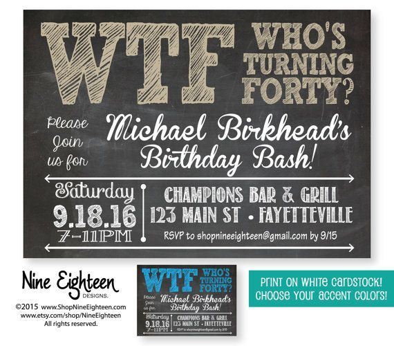 40th Birthday Party Invitation WTF Whos Turning Forty Adult