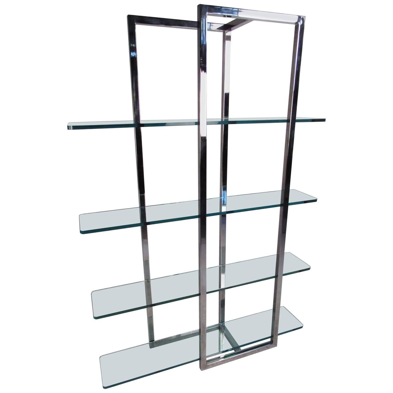 Miraculous Modern Chrome And Glass Four Shelf Etagere My 1Stdibs Home Remodeling Inspirations Basidirectenergyitoicom
