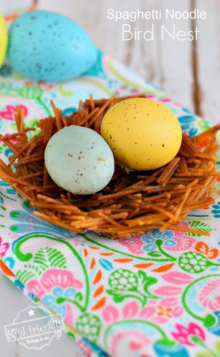 Spaghetti Noodle Spring Bird Nest Craft For Kids To Make Kid