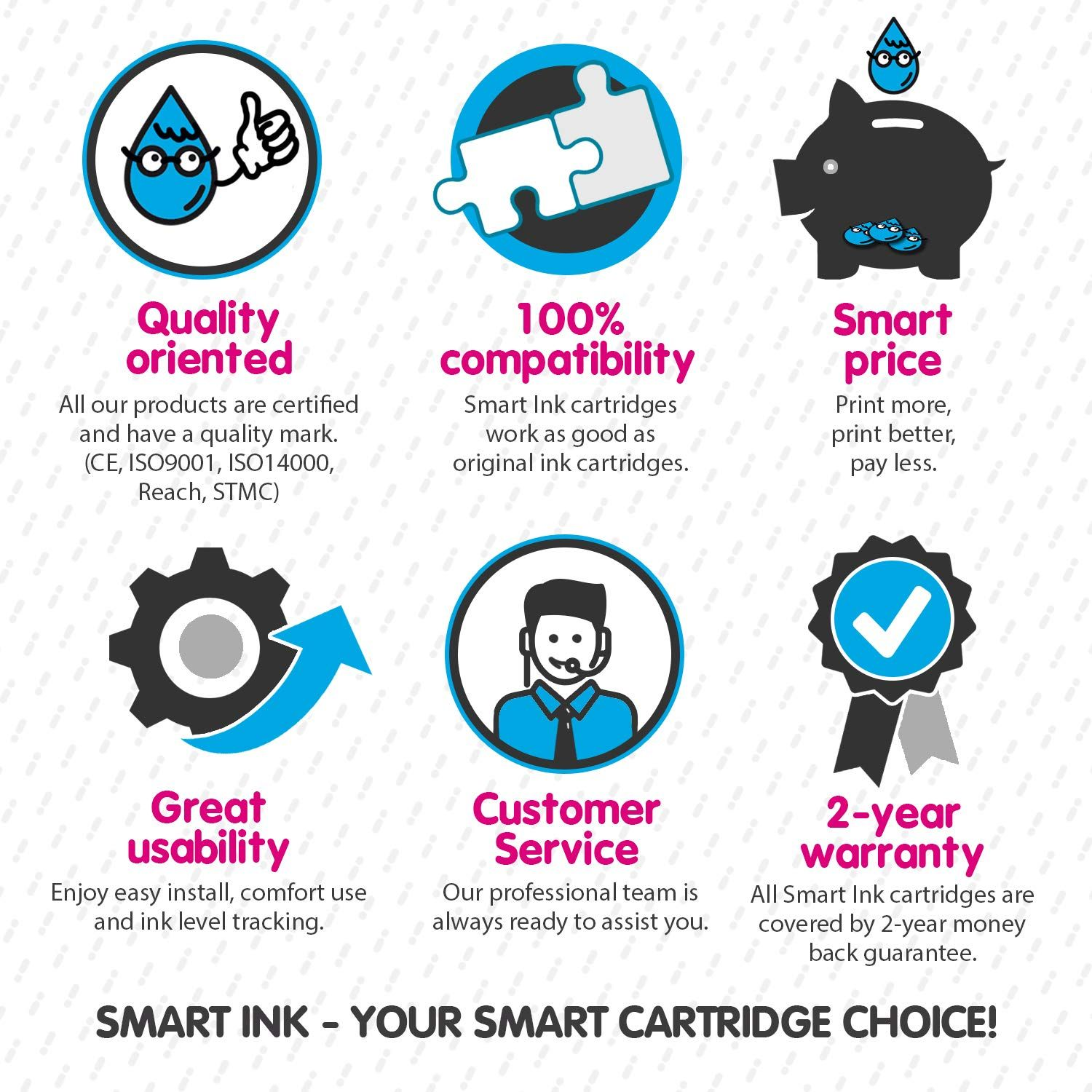 Smart Ink Re-Manufactured Ink Cartridge Replacement for HP