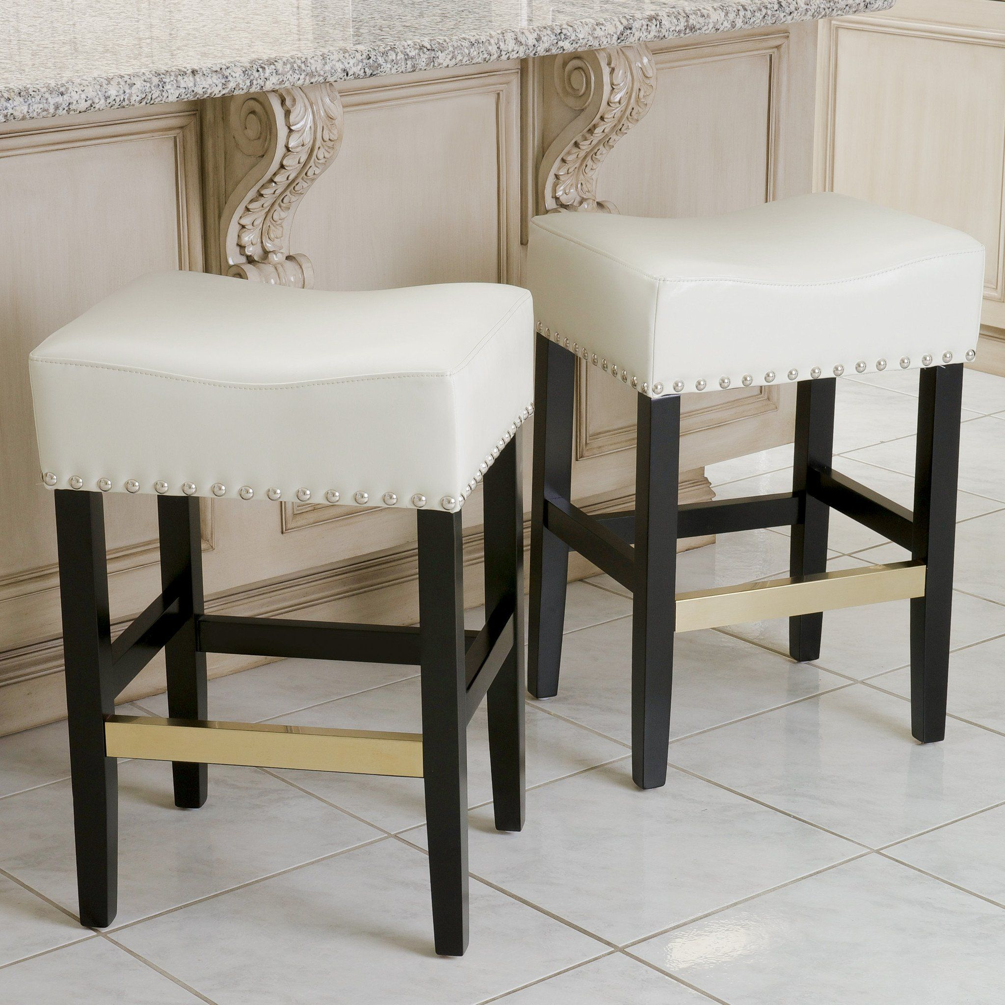 Carmen Ivory Leather Backless Counter Stool Set Of 2 Counter