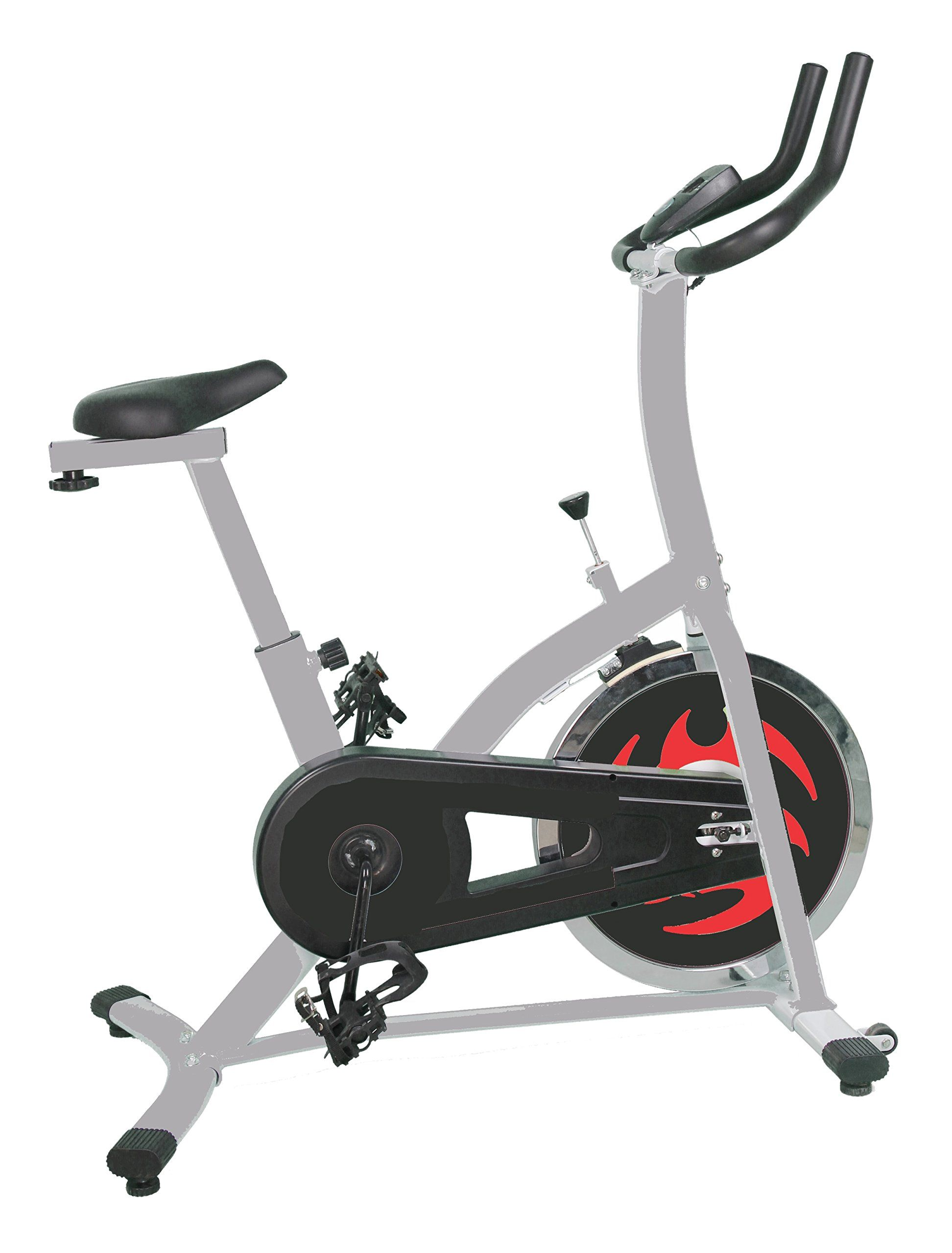 US Pride Furniture Gym of Fitness Cycle Upright Spinning Exercise Bike. 1-piece crank, chain drive and weighted flywheel. Single Window LCD monitor: Easy to read speed, distance, time, calories, pulse,odometer. Easy handle bar/seat adjustment and lock while in sitting position. Friction braking system and emergency lock. Materials: Steel, vinyl, plastic.