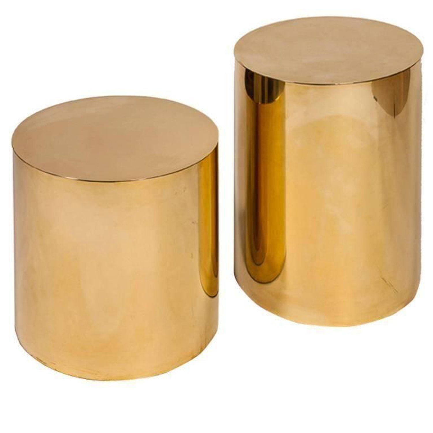 Small Polished Brass Pebble Drum Side Table Drum Side Table Side Table Drum Table