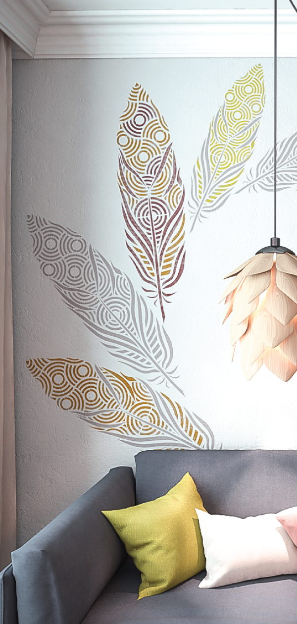 Feather Wall Painting Stencils Large Art