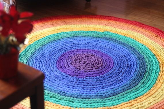 Rainbow Round Rag Ombre Area Rug 5 Feet Diameter Recycled T Shirt