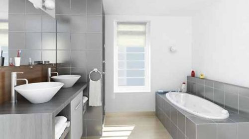 Une salle de bain moderne et design réalisée par Artisans Associés - Salle De Bain Moderne Grise