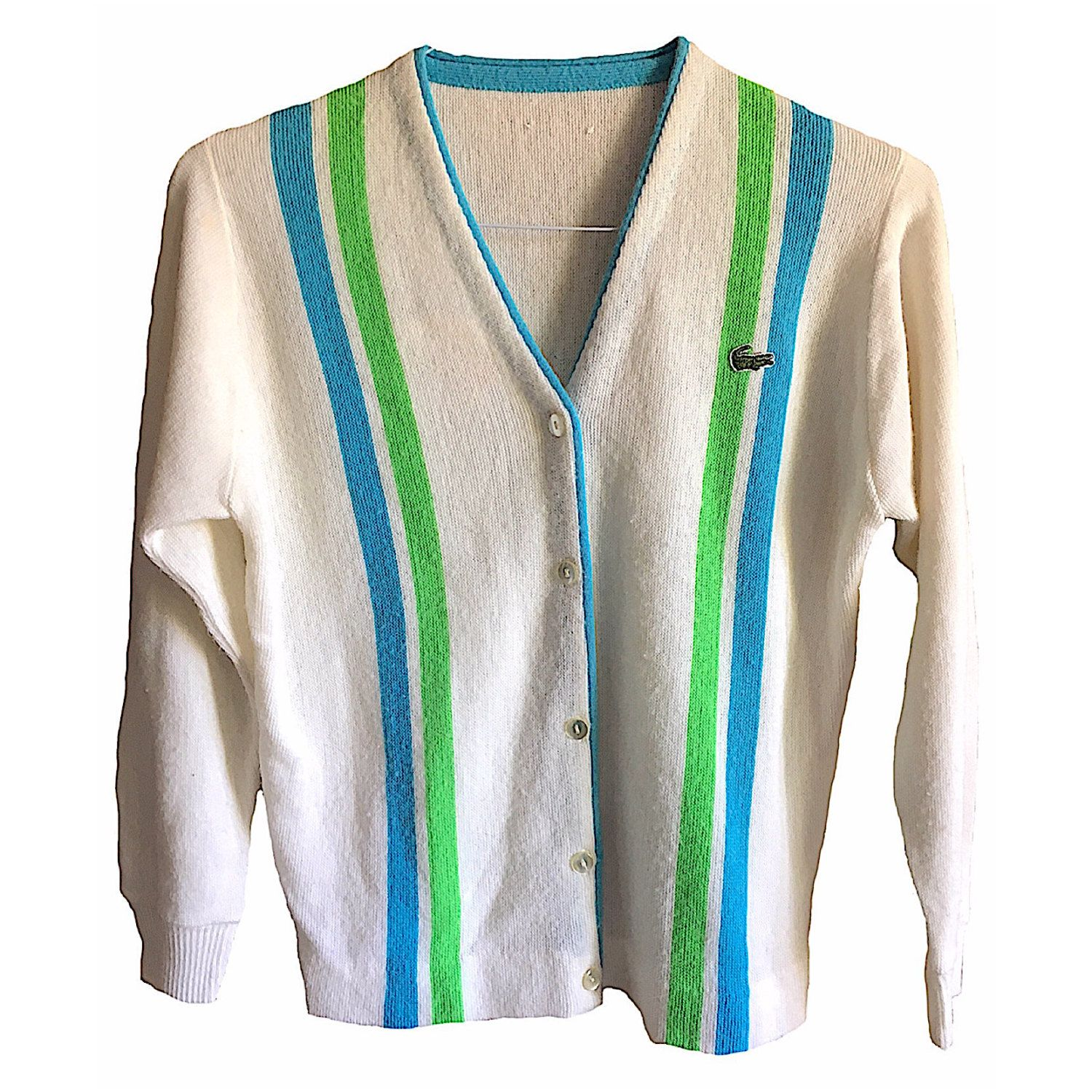 Lacoste Cardigan sweater v-neck alligator vintage mens womens ...