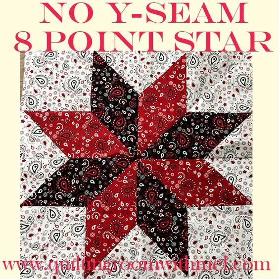 Large No Y-Seam Eight-Point Star Quilt Block Video Tutorial
