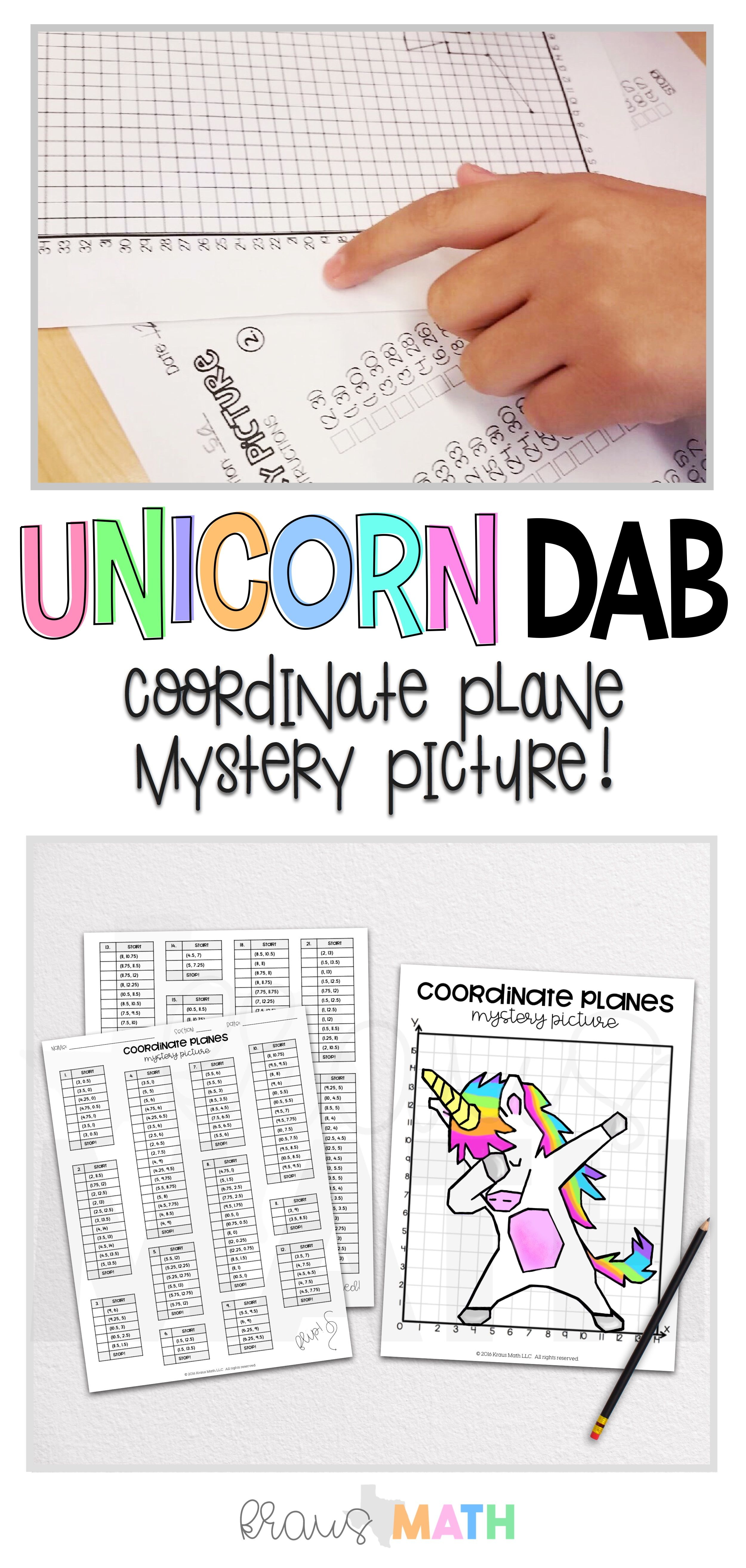 Unicorn Dab Coordinate Plane Mystery Pictures Kraus Math Coordinate Plane Graphing Activities Middle School Math [ 5250 x 2500 Pixel ]