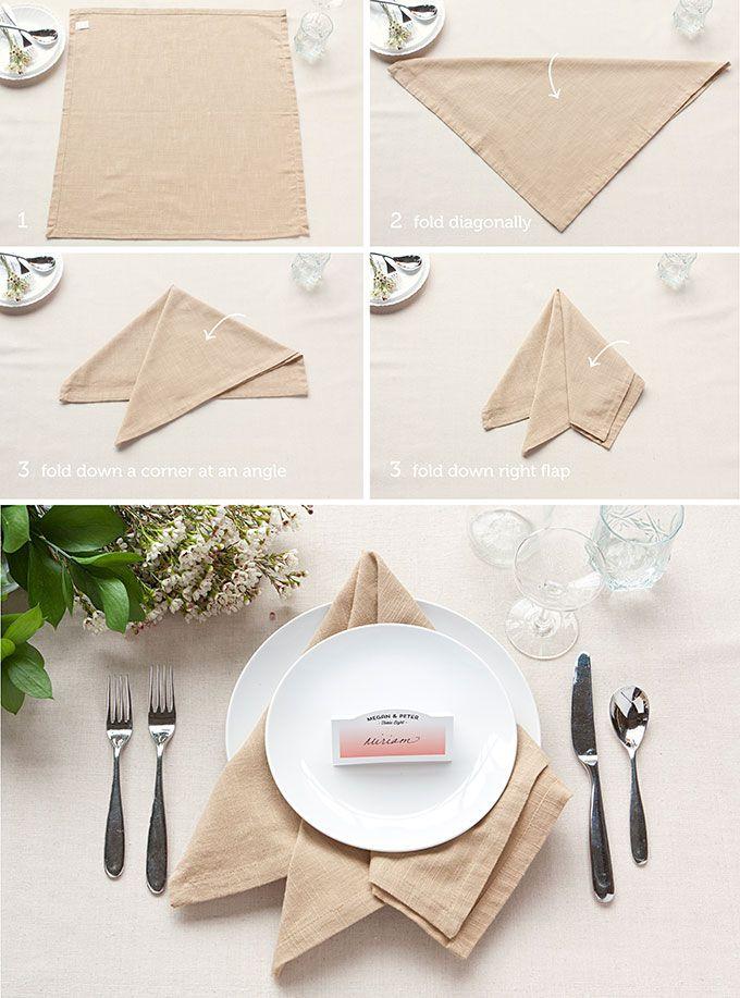 Table Setting Tips: 3 Basic Napkin Folds | Pinterest | Table ...