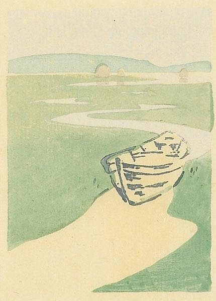 The Lost Boat Arthur Wesley Dow Color Woodblock Print