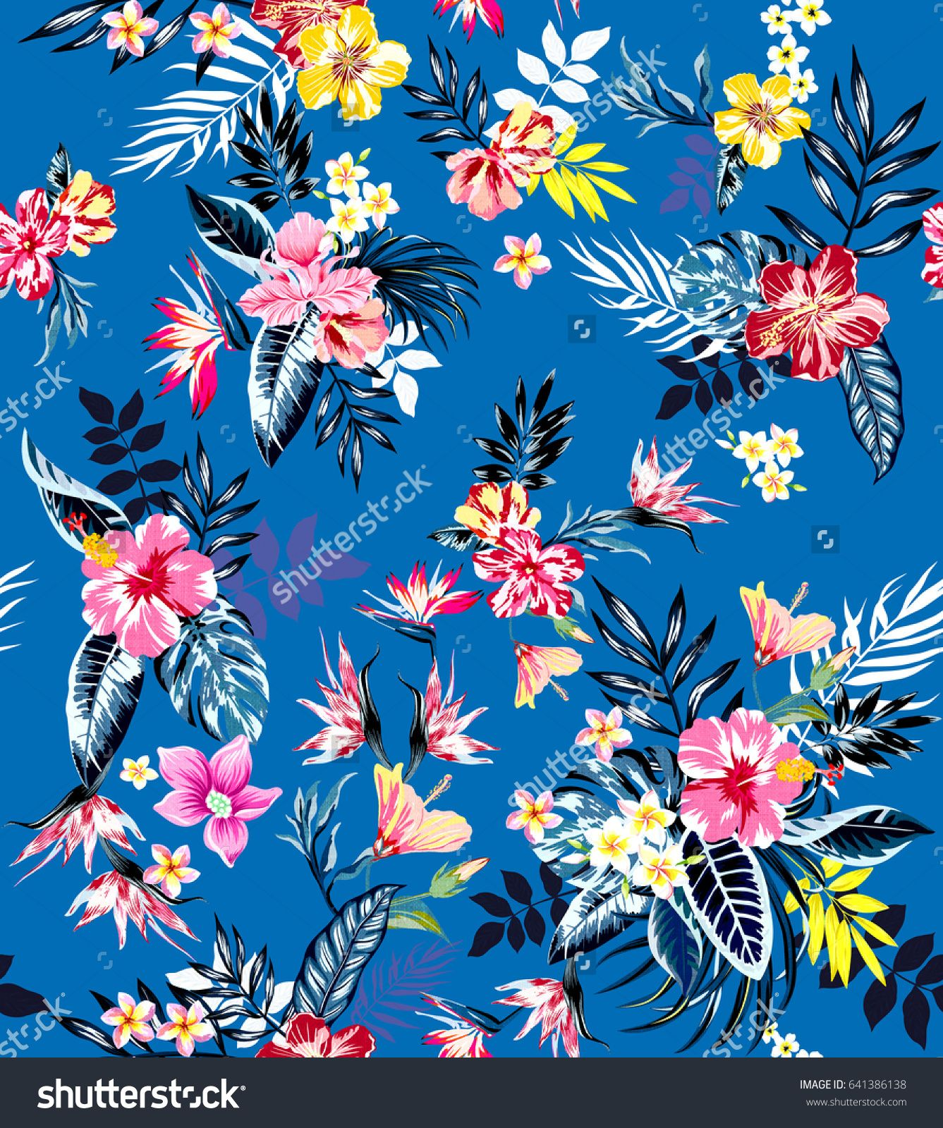 Seamless Colored Tropical Flowers For Textile Retro Hawaiian