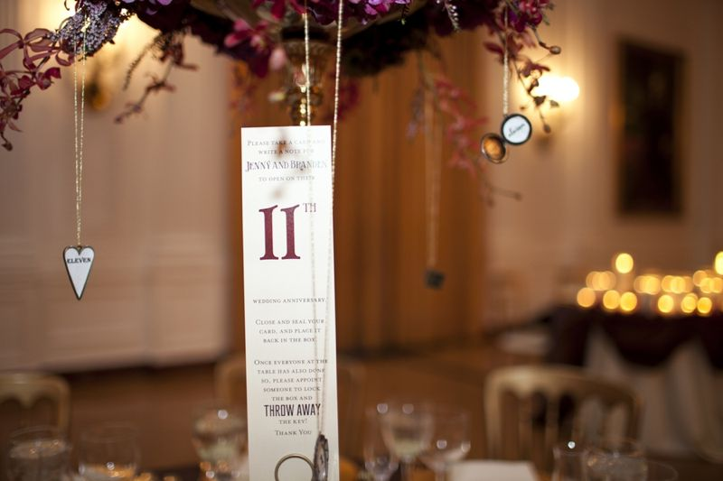 Table number, hanging from centerpiece. Has a description for guests to leave a note for the couple in a special box on the table! // photo by Focus Photography, Inc.