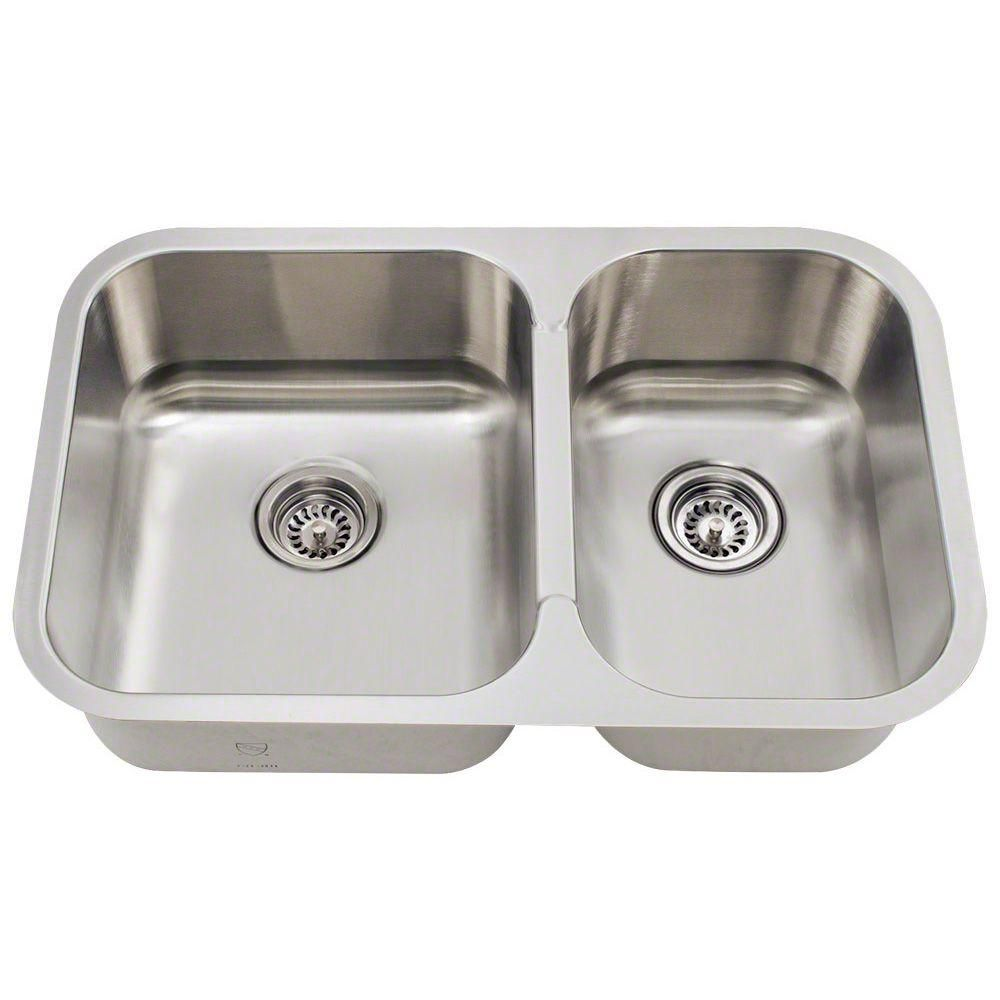 Polaris Sinks Undermount Stainless Steel 28 In Double Bowl