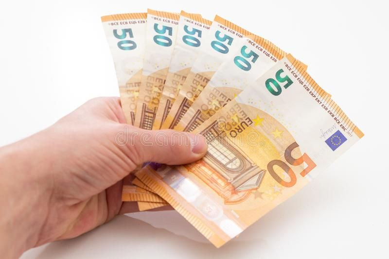 Group of 50 Euro Bills Investment 2020 happy new year money in your hand  stra