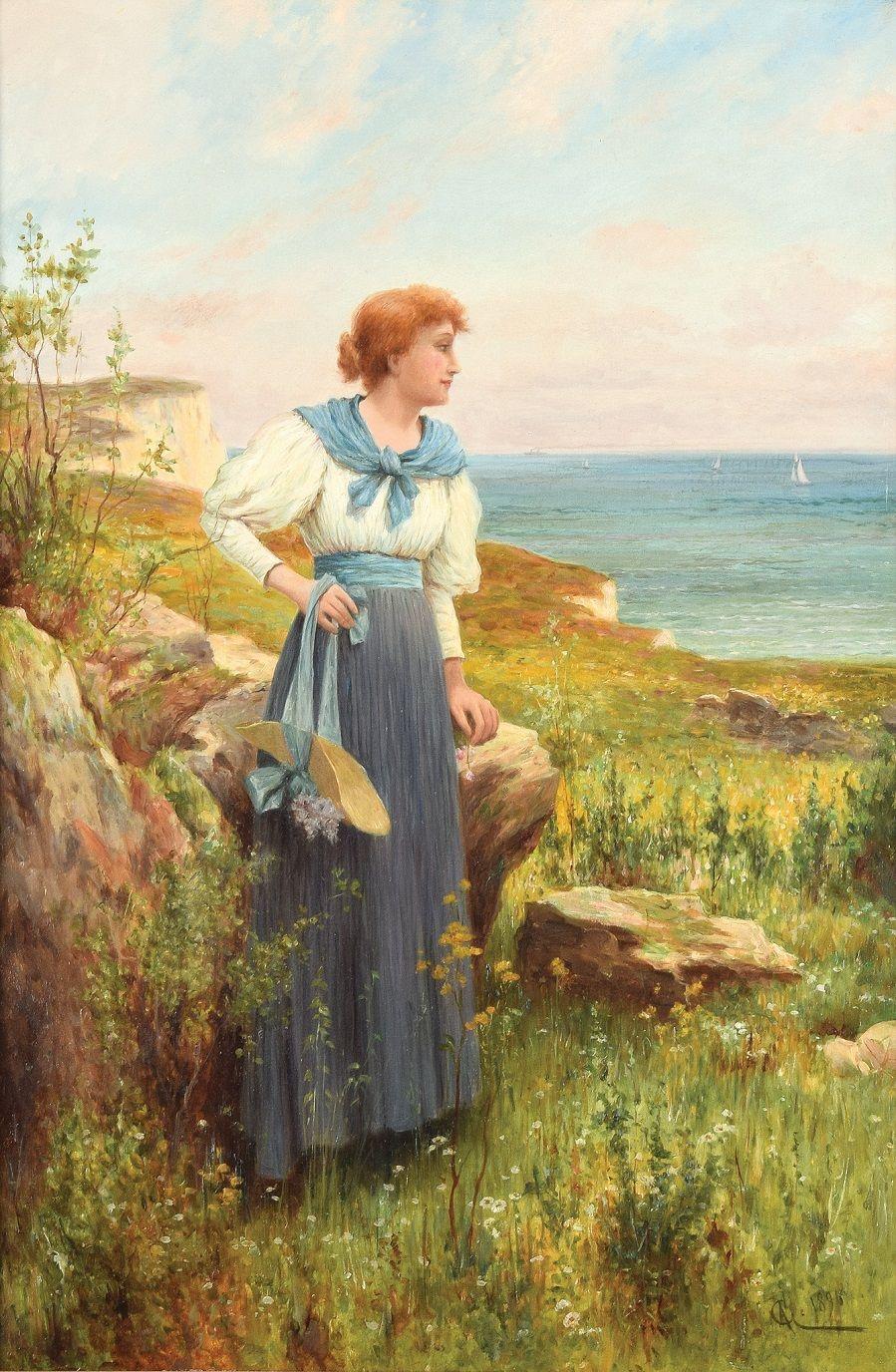 Genremalerei berühmt  Alfred Augustus Glendening Jr. (British, 1861-1907). Летняя пора ...