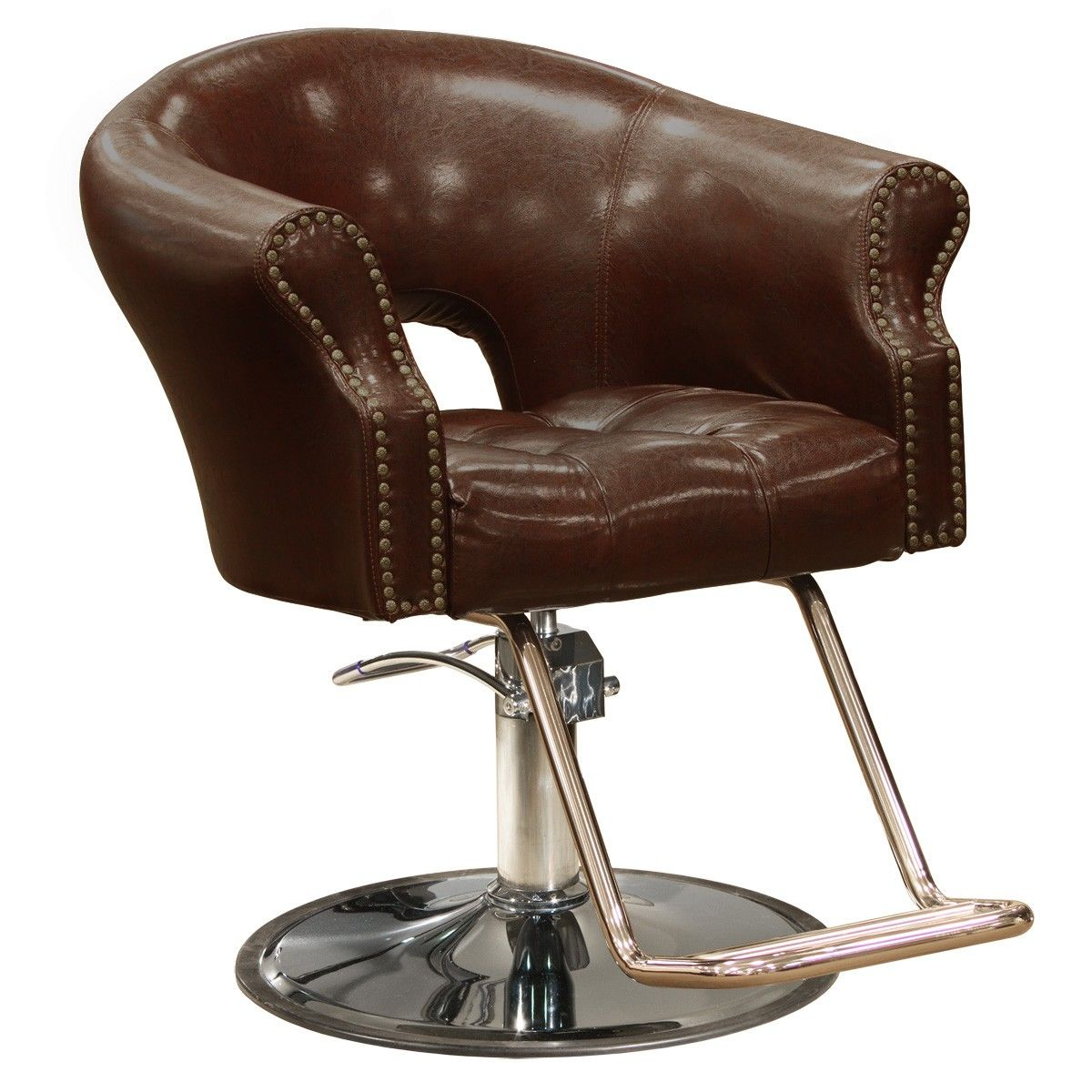 The Arnage styling chair is shown in Antique Brown with round base and dual  bar footrest. - The+Arnage+styling+chair+is+part+of+our+Avei+line+of+salon+furniture