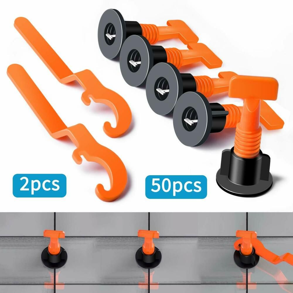 50pcs Tile Spacers Floor Wall Tile Leveler Tools Reusable Tile Levelling Systems Tile Leveling System Construction Tools Tile Installation
