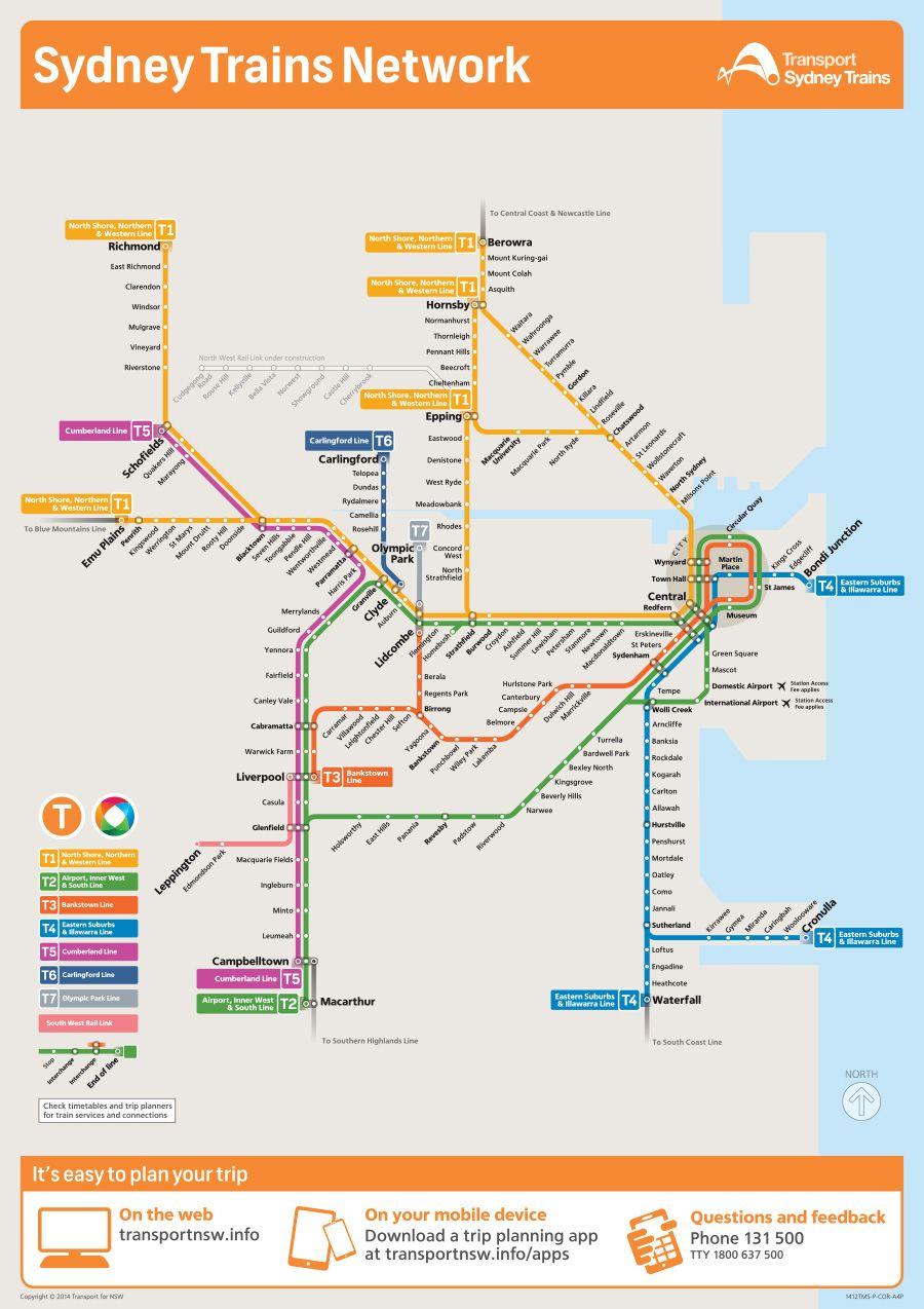 Rail Network Map   Train map, Sydney map, Metro map