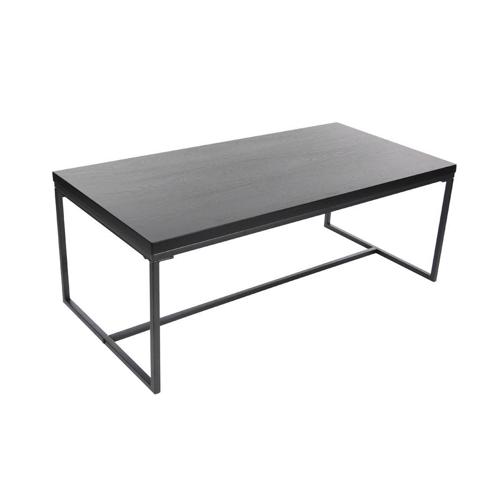Null 47 In X 18 In Modern Metal And Wood Coffee Table In Black Salontafel [ 1000 x 1000 Pixel ]