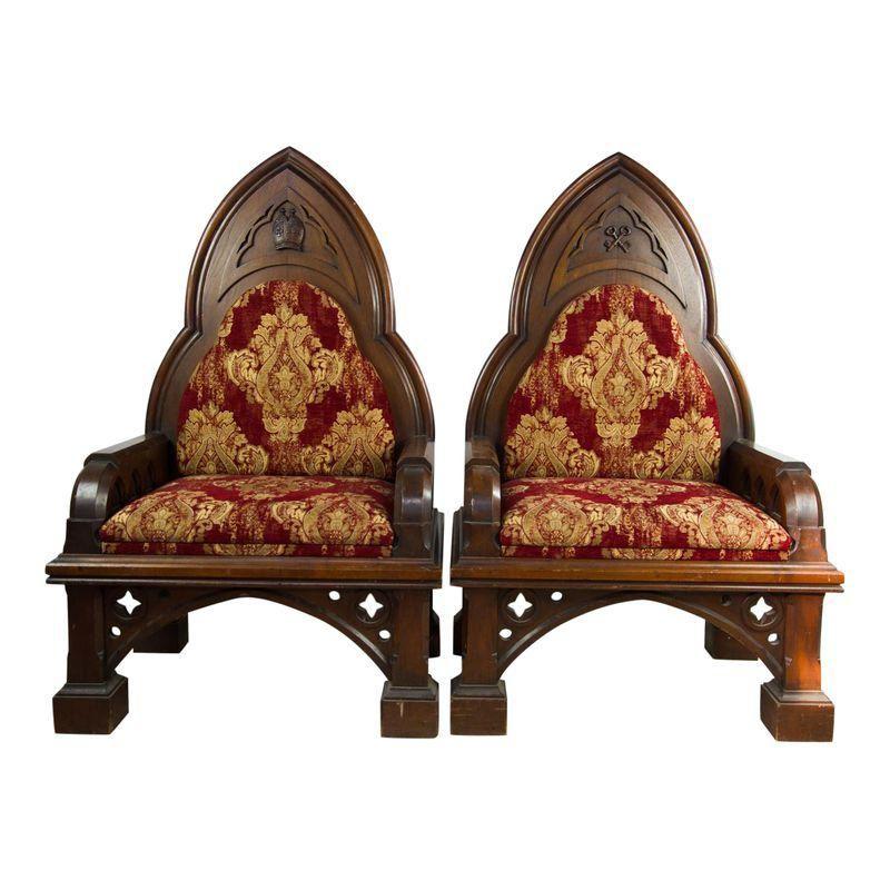 19th c gothic revival king queen throne chairs apair