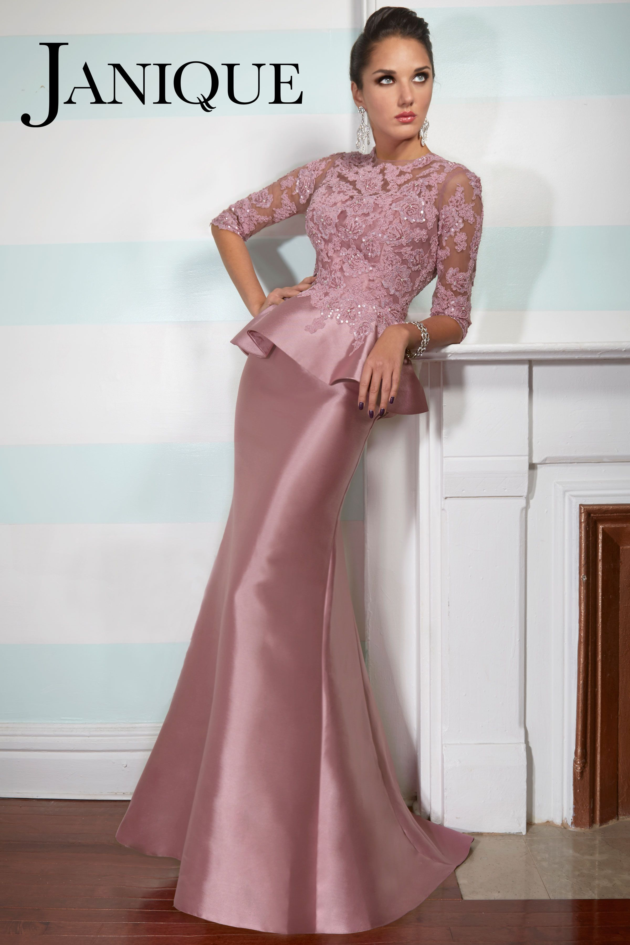 e4ea349f8d35 Janique 510 2015 Collection. Sparkle and glow in Janique 510. This fabulous  evening gown features a round neckline with three quarter length sleeves.