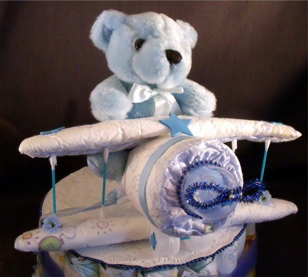 Blue diaper airplane diaper cake topper only boy baby for Airplane baby shower decoration ideas