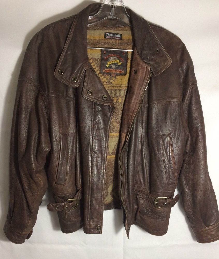 Wilsons Men's Leather Motorcycle Flight Bomber Jacket Size