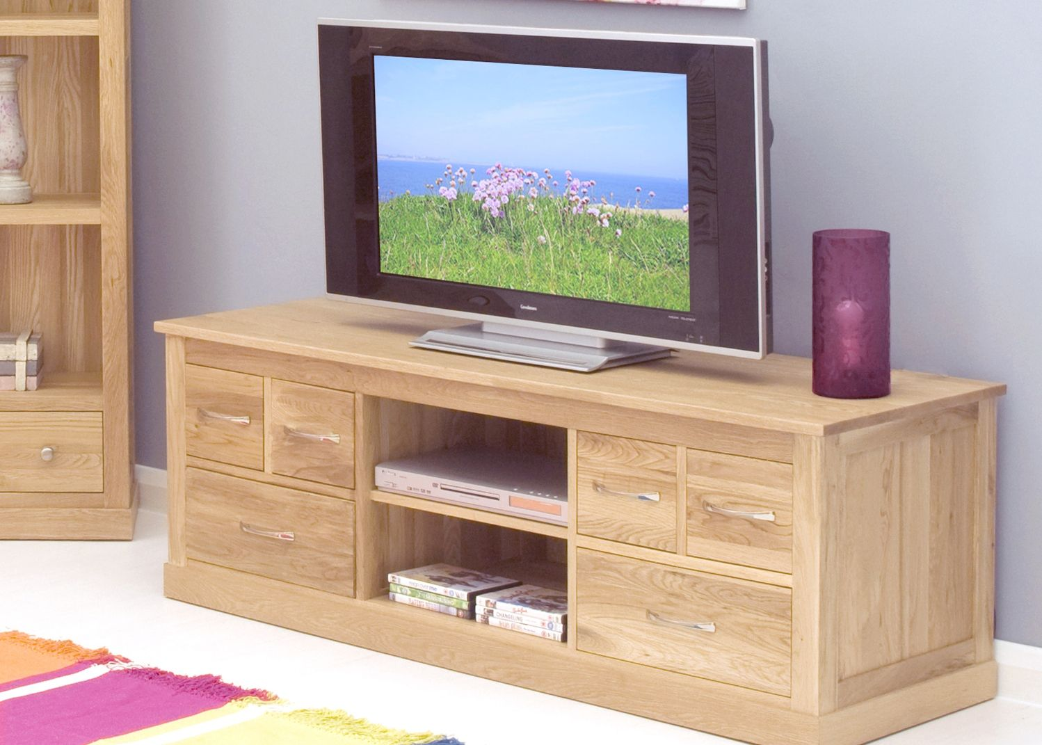 baumhaus mobel oak living dining widescreen television cabinet