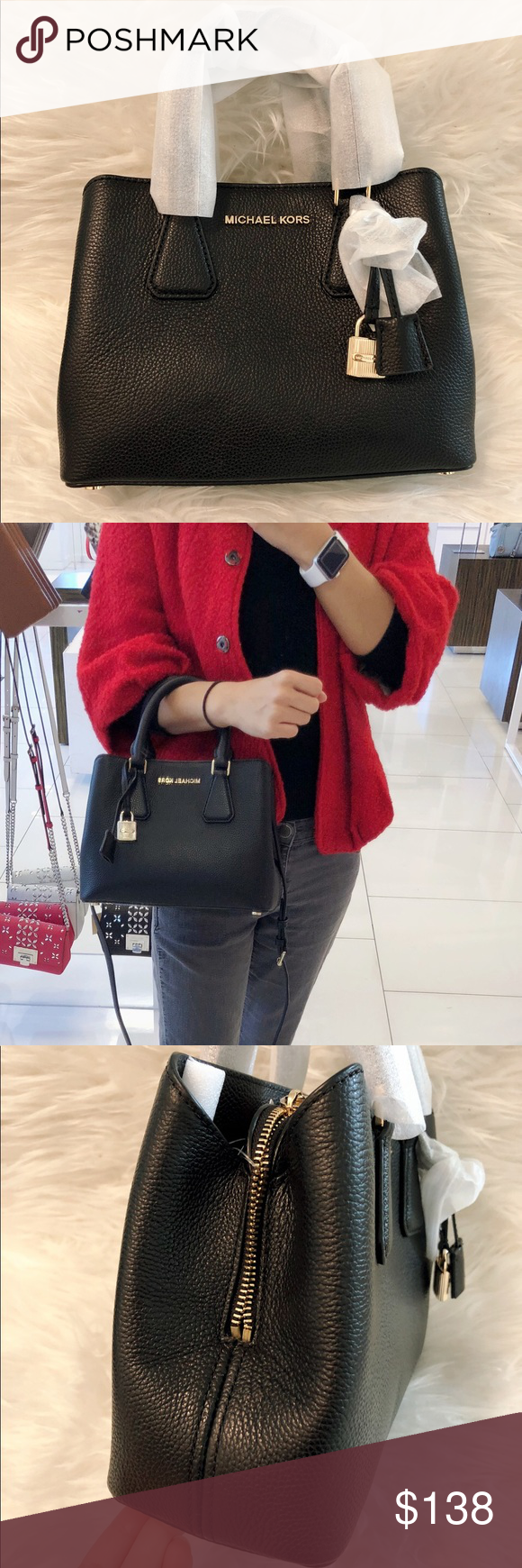 8f356405f957 NWT 👜MICHAEL KORS Small Camille Leather Satchel ⭐ :: Brand New with tags