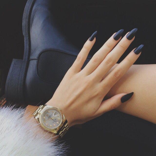 Long matte black | nails | Pinterest | Matte black