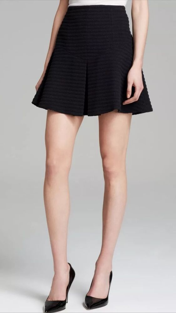 Theory 1138 Braswell Black Textured Box Pleat A Line Skirt Women's Sz 6 New $235 | eBay