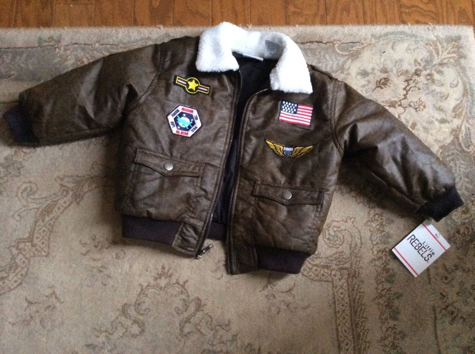 Brown Kids Faux Leather Distressed Bomber Jacket Airforce Patches Size 4t Leather Jacket Patches Jackets Brown Leather Jacket [ 1195 x 1600 Pixel ]