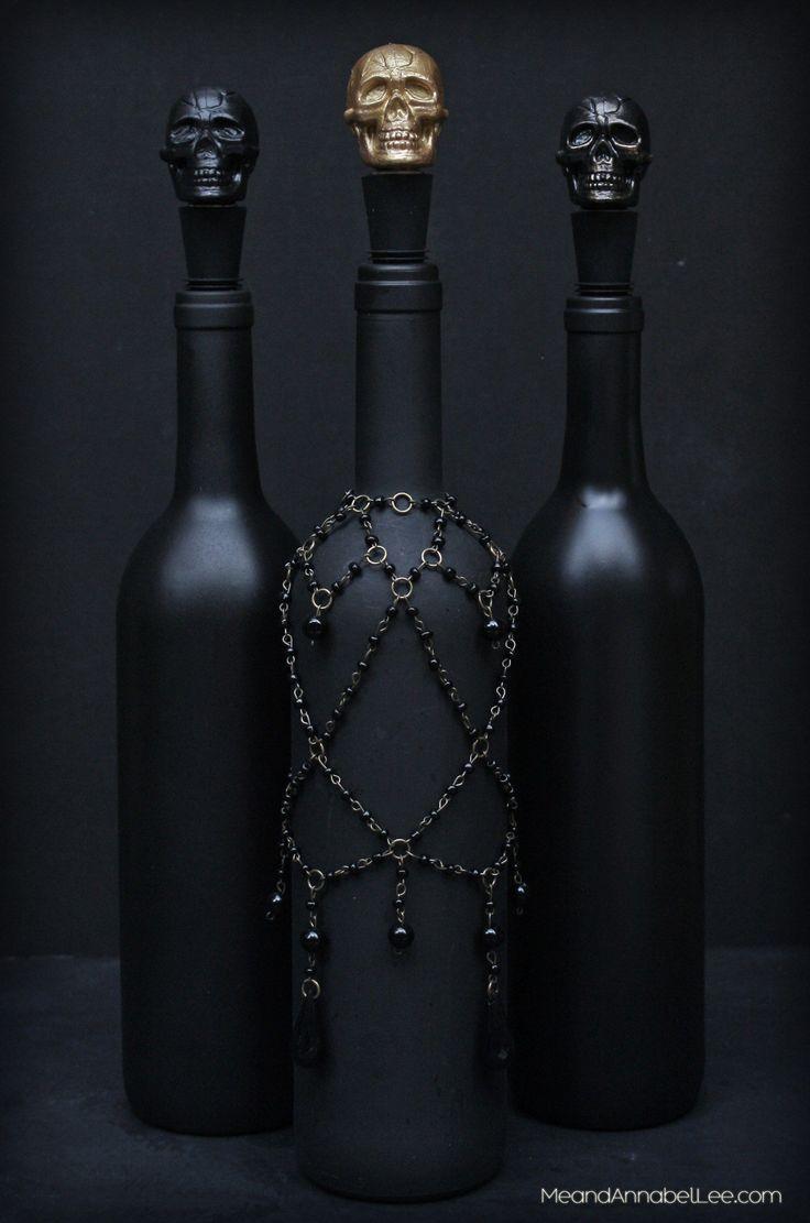 DIY Black Skull Wine Bottle Stopper Halloween Party Decor  –  #black #BOTTLE #De…