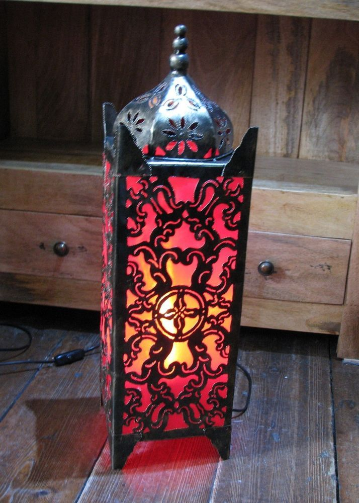 MOROCCAN STYLE FLOOR TABLE LAMP LIGHT LANTERN ELECTRIC FAIR TRADE RED