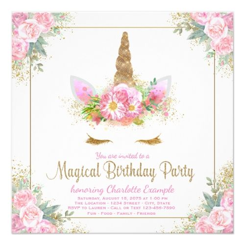 Unicorn Birthday Party Invitations Face