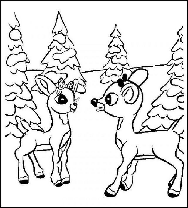 Winter Rudolph The Red Nosed Reindeer Coloring Pages. Also